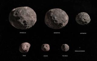 Ilustração de sete rochas de tamanhos diferentes no espaço