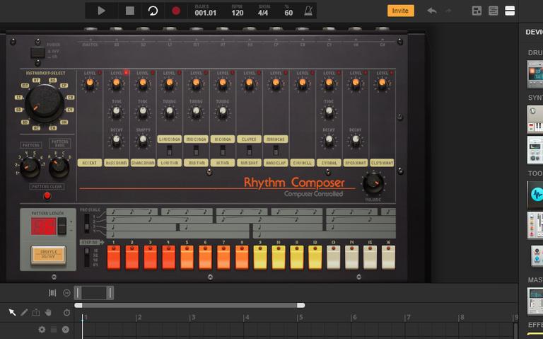 Imagem do site Audiotool, que permite a criação musical online