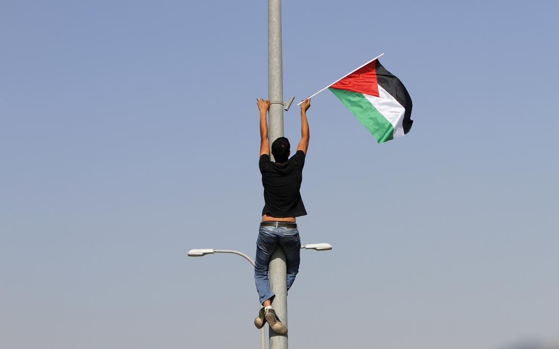 Bandeira palestina na Cisjordânia