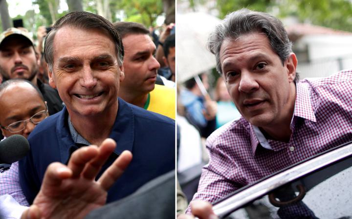 Jair Bolsonaro, no Rio, e Fernando Haddad, em São Paulo