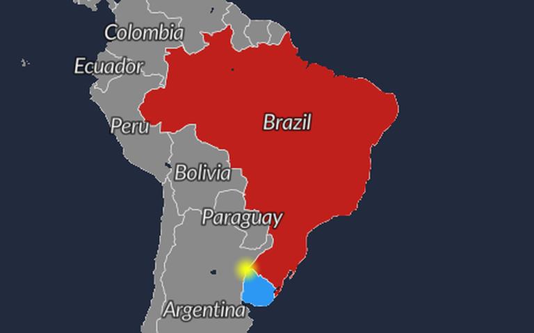 Mapa indica em amarelo a Ilha Brasileira, disputada por Brasil e Uruguai