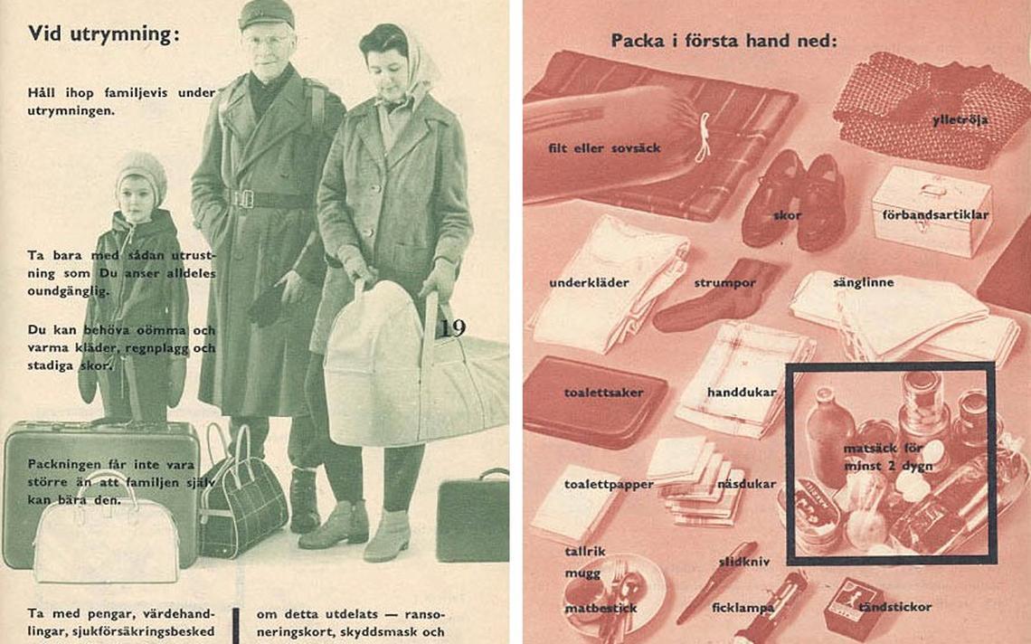 Material informativo de 1961 sobre o que fazer em caso de guerra