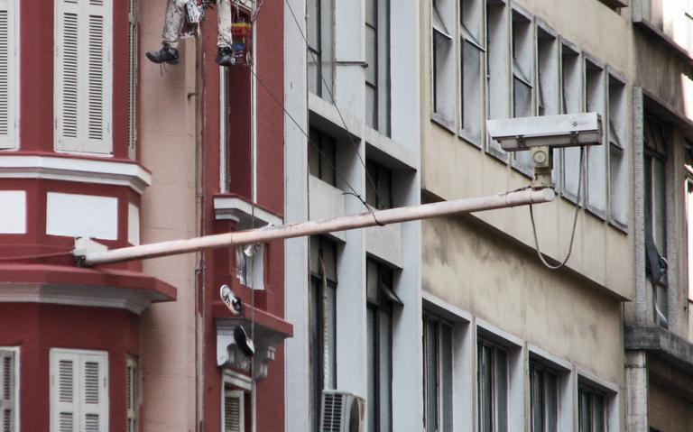 Câmera de monitoramento no centro da capital paulista