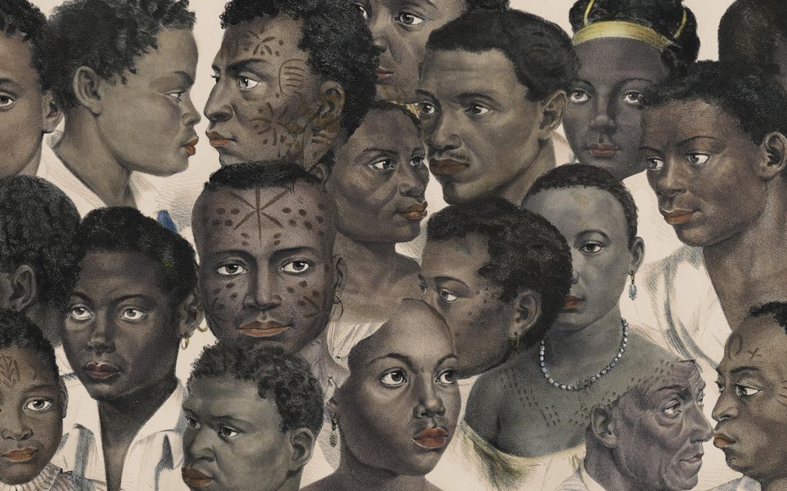 "Colagem sobre litografias de escravos de Johann Moritz Rugendas (""Malerische Reise In Brasilien"", de 1835)"
