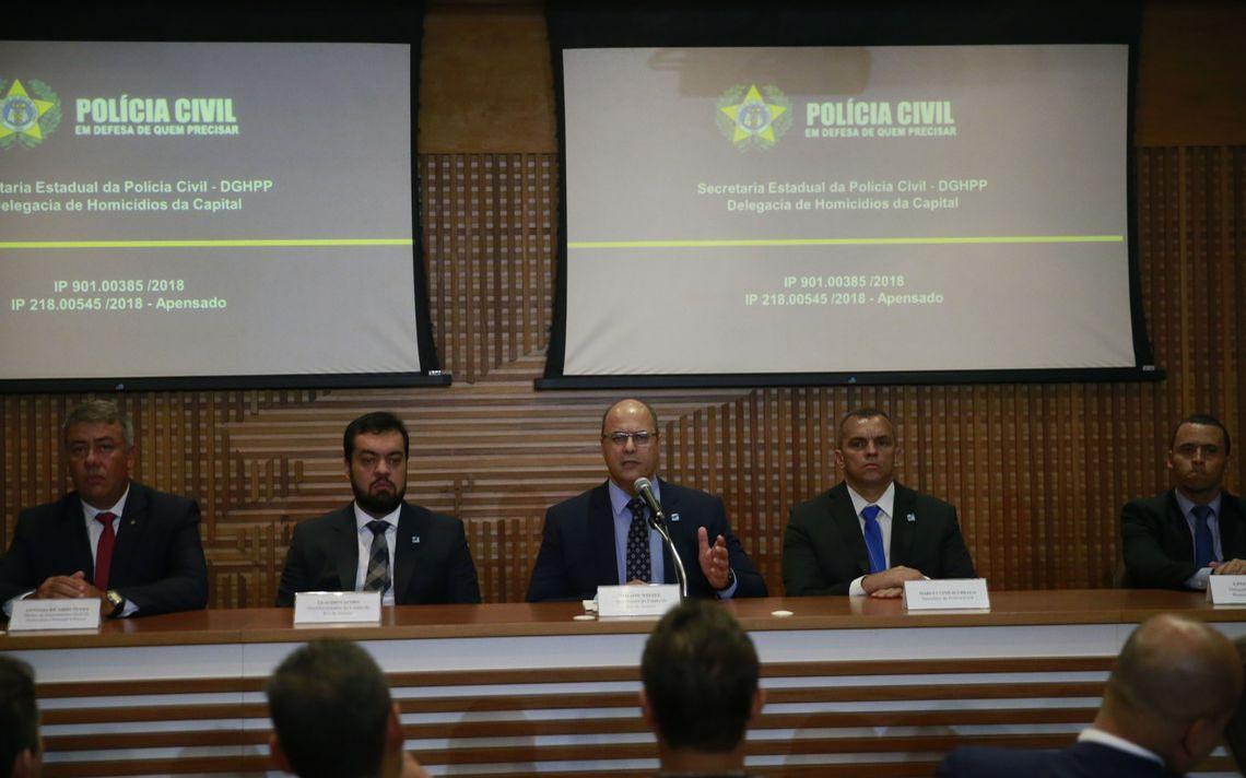 Policiais e governador do RJ, Wilson Witzel, falam à imprensa sobre o caso Marielle