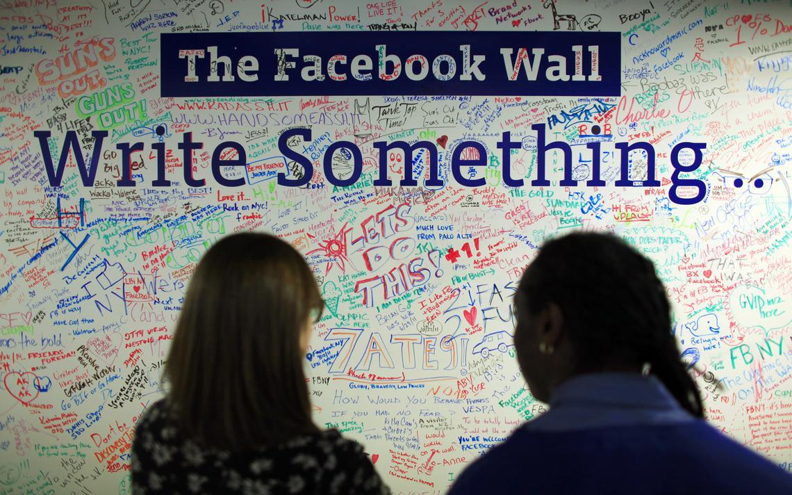 Mural no escritório do Facebook em Nova York, com os dizeres
