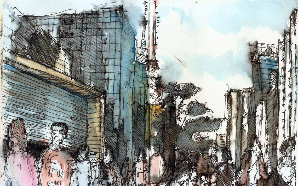 Croqui da Avenida Paulista, na capital paulista; por Yorik van Havre