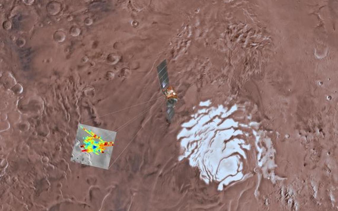 Destaque da calota polar sul de Marte. Pontos em azul escuro indicam o lago, que está a 1,5 km da superfície