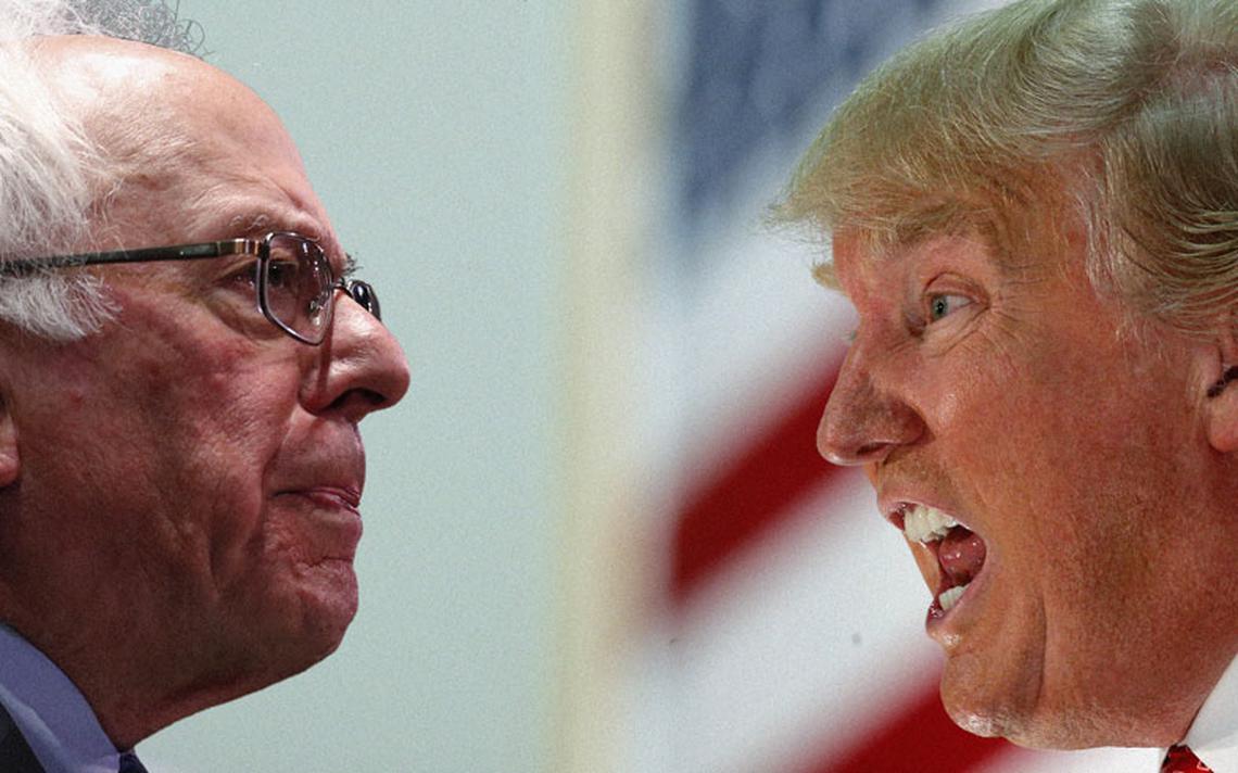 Sanders e Trump em montagem fotográfica