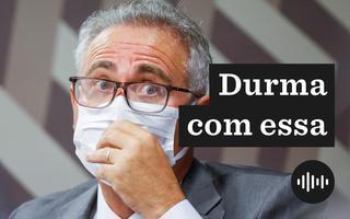 Renan Calheiros, relator da CPI da Covid. Ele está de máscara e com cara de surpreso
