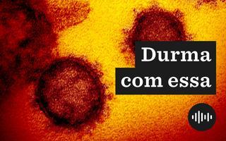 Imagem microscópica do novo coronavírus, em tons amarelados