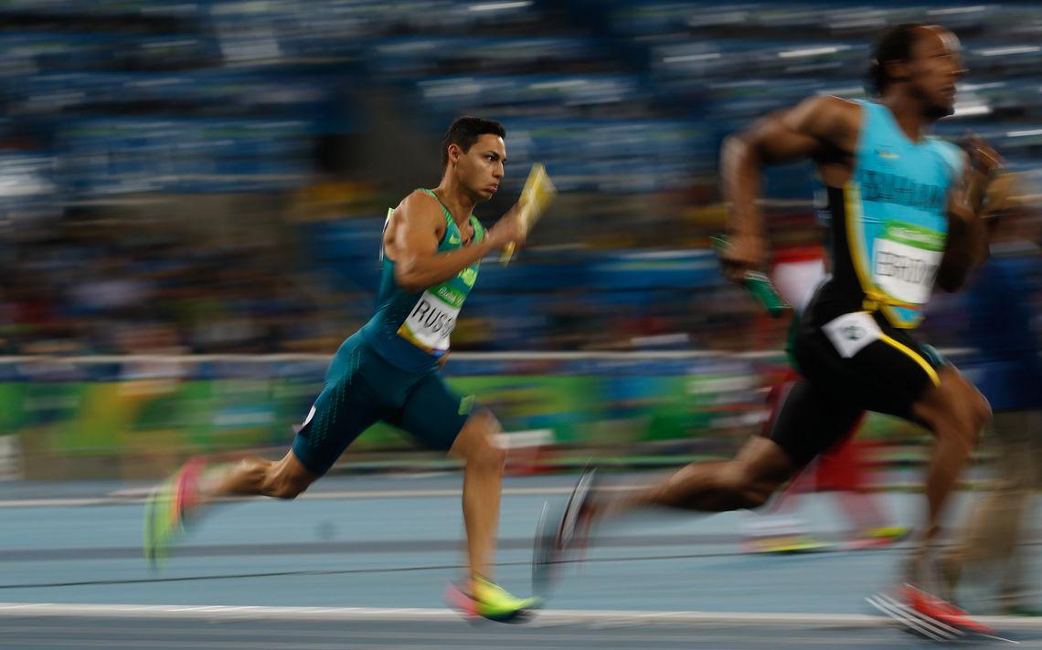 Eliminatórias do revezamento 4x400m no Estádio Olímpico nos Jogos Rio-2016