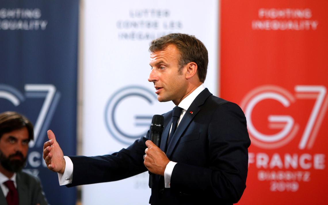 Presidente francês discursa sobre sustentabilidade e igualdade social para empresários na véspera da reunião de cúpula do G7
