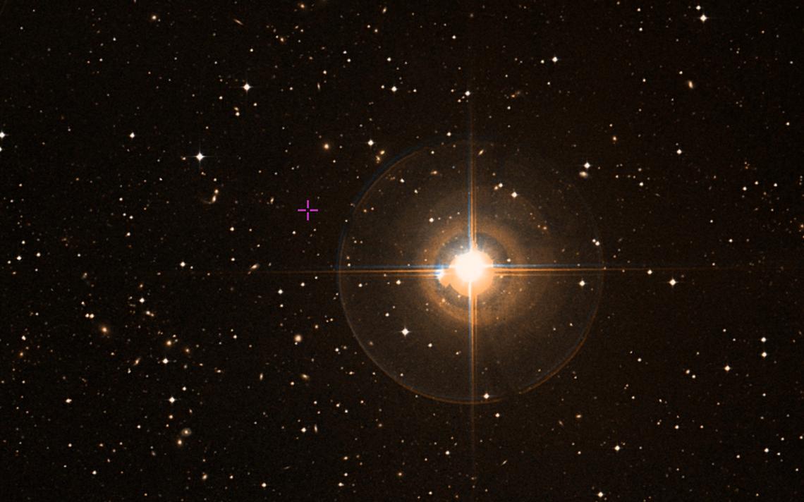 Imagem do mapa da ESA, com destaque para a estrela Epsilon Eridani, a 10,5 anos-luz da Terra