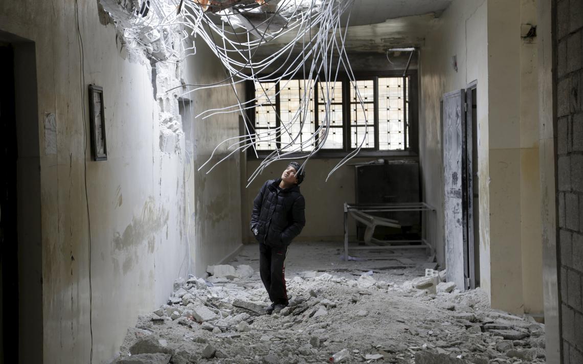 Destruição em colégio sírio