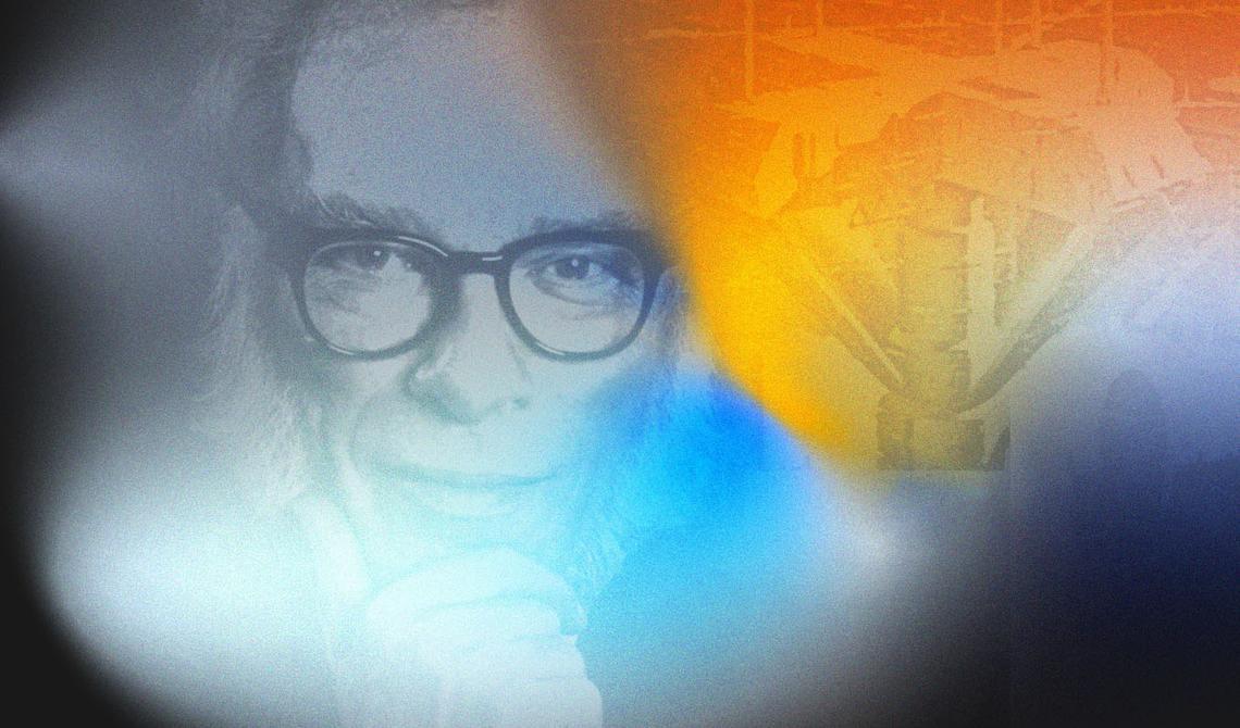 Montagem de fotos de Isaac Asimov e da capa de seu livro Fundação, aplicadas sobre ilustração em degradês coloridos semelhante a nebulosas especiais