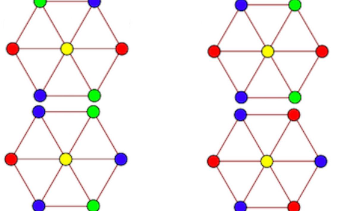 Esquema que mostra uma aplicação do problema de Hadwiger-Nelson, com quatro cores