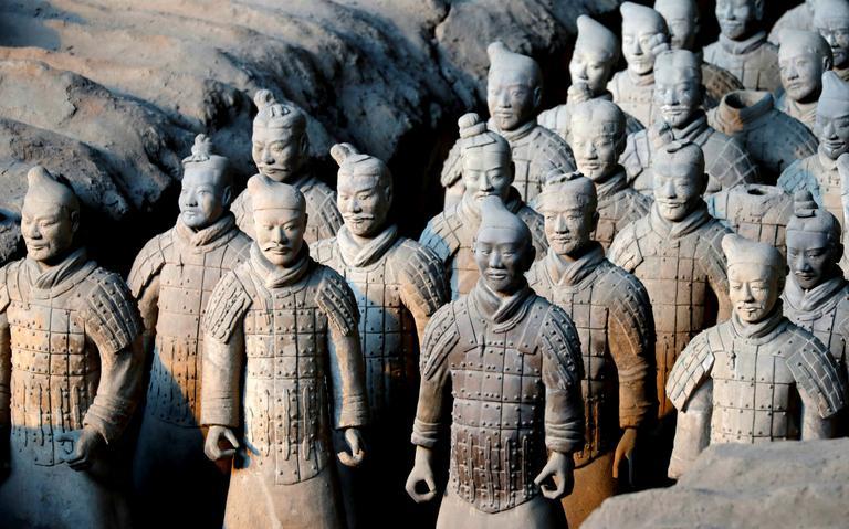 Estátuas dos Guerreiros de Terracota foram encontradas em 1974 e permanecem em Xian, na China