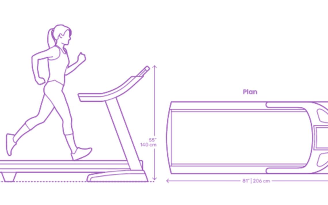Modelo de esteira para corrida disponível no Dimensions.Guide