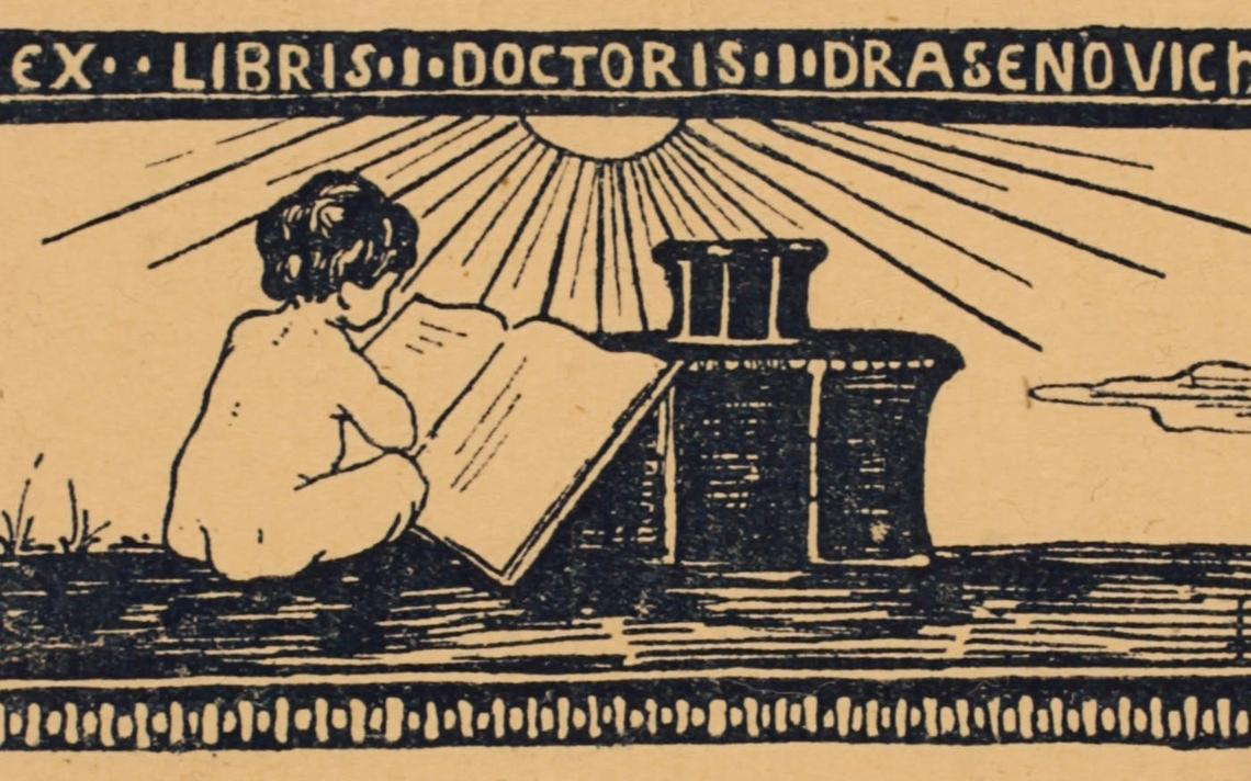 Ex-libris criado em 1897 na Áustria por Luise Drasenovich
