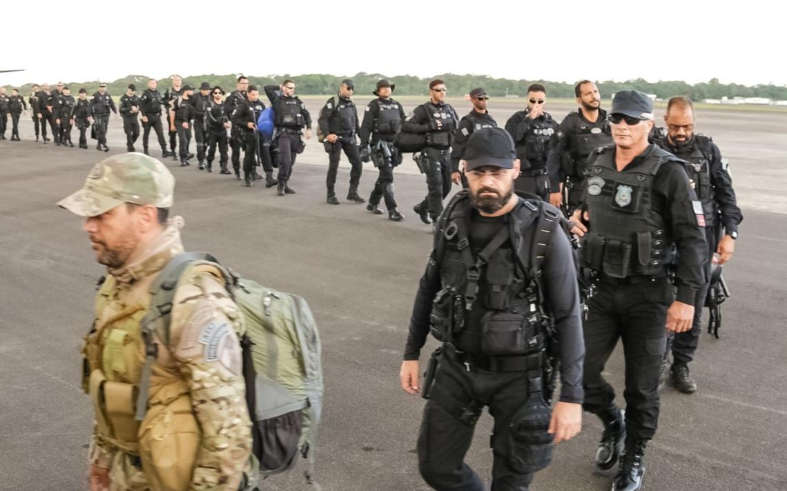 Chegada de agentes da FTIP em Belém, no dia 31 de julho de 2019