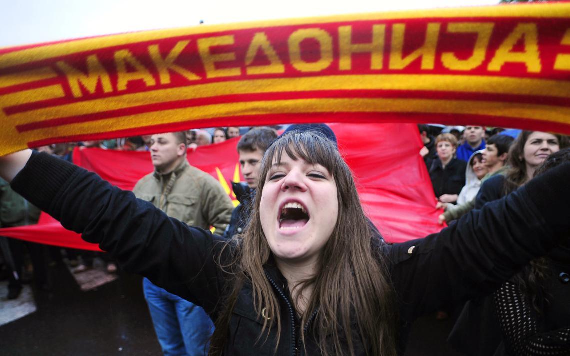Manifestante contra a exigência grega