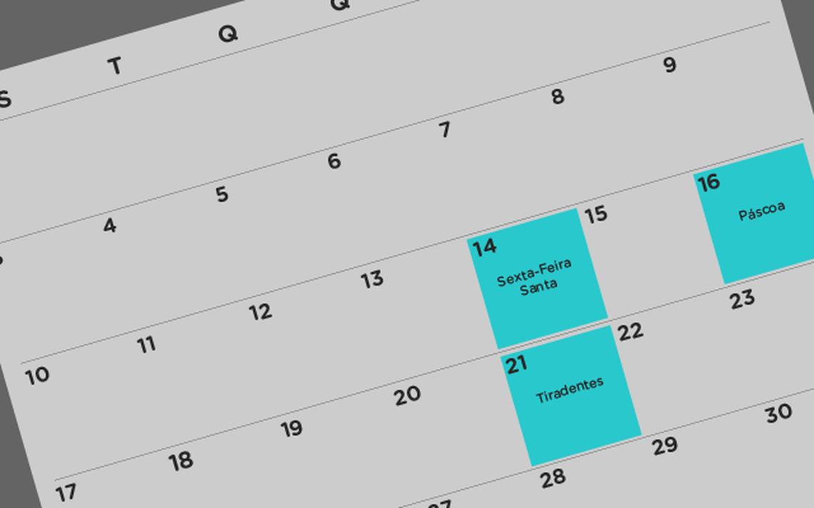 Ilustração do calendário de abril de 2017, com destaque para sexta-feira santa, páscoa e Tiradentes.