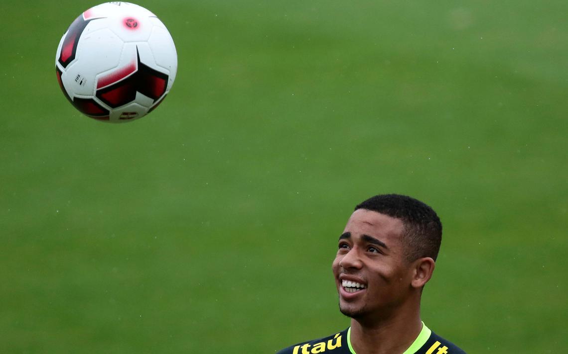 Gabriel Jesus durante treino para partida contra o Peru das eliminatórias da Copa do Mundo