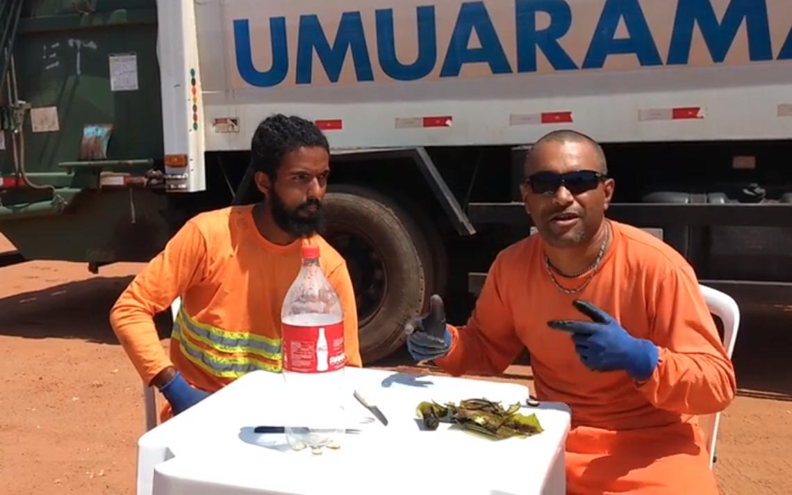 Os garis Romildo Souza e Kennedy Danilo, de Umuarama (PR), explicam como acondicionar vidro quebrado