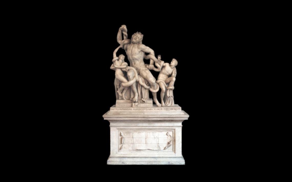 Imagem em 3D do Grupo de Laocoonte, esculpido por volta de 1525 d.C. por Baccio Bandinelli