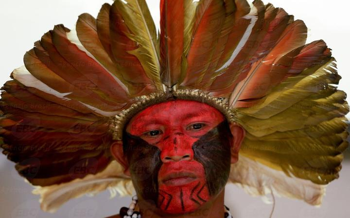 O guarani-kaiowá Elson Canteiro em 2015, durante apresentação de docuemento sobre violência contra indígenas