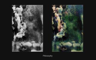 À esquerda, a fotografia de pintura em preto e branco com figuras nuas flutuando no céu. À direita, a mesma pintura colorizada