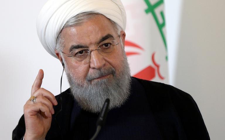 Presidente do Irã em coletiva de imprensa em Viena, em 5 de agosto de 2018