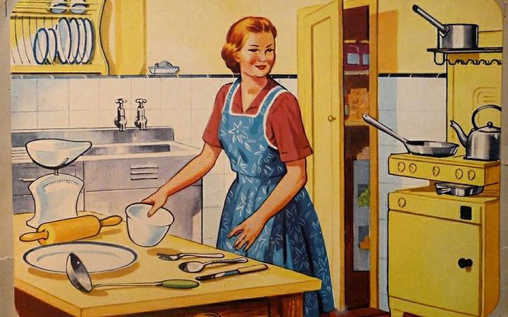 Ilustração antiga de trabalho doméstico, atividade ainda vista como essencialmente feminina
