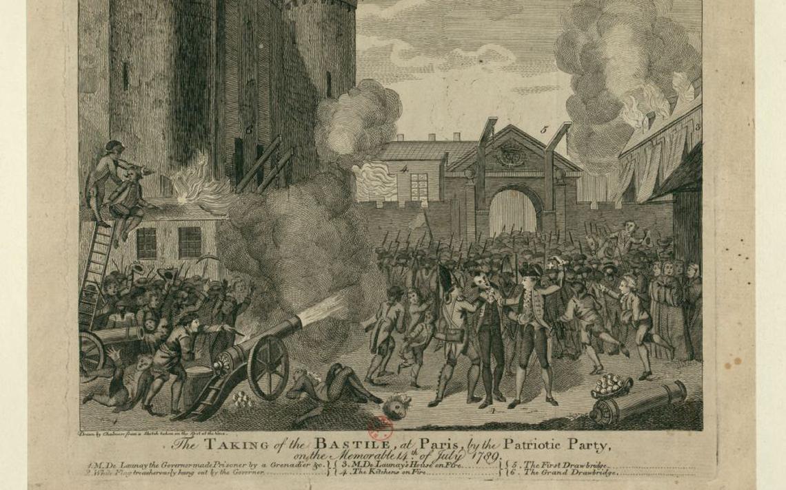 Ilustração da queda da Bastilha, marco da Revolução Francesa