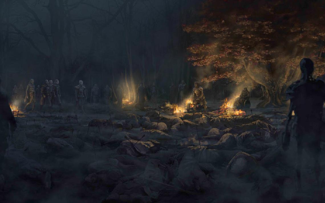 Ilustração de cena da Batalha de Winterfell