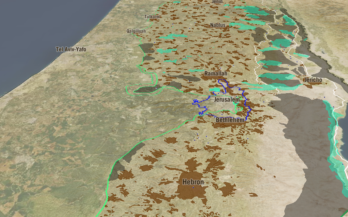 Site mostra ocupação israelense na Cisjordânia