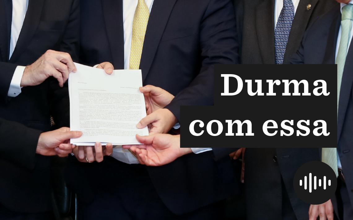 Jair Bolsonaro, Rodrigo Maia e David Alcolumbre, na entrega da proposta de reforma da Previdência