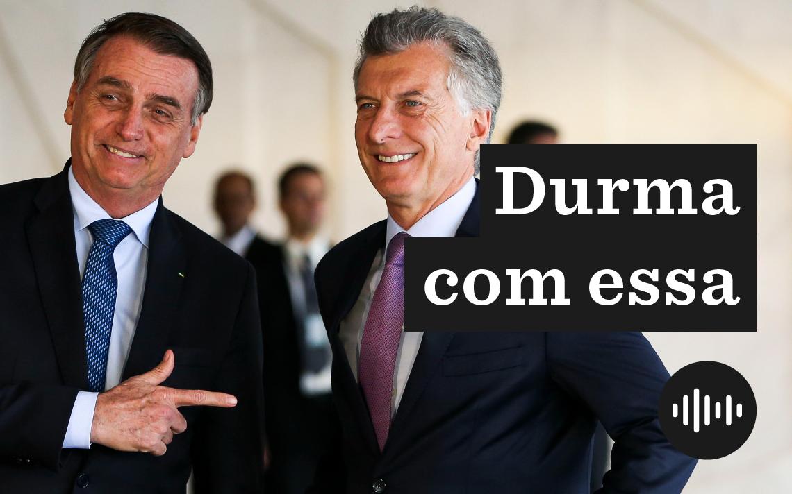 Os presidentes Jair Bolsonaro e Mauricio Macri, da Argentina, em encontro no Palácio do Planalto
