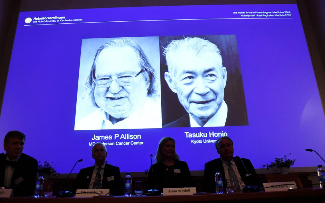 James Allison (EUA) e Tasuku Honjo (Japão) levaram o Nobel de Medicina