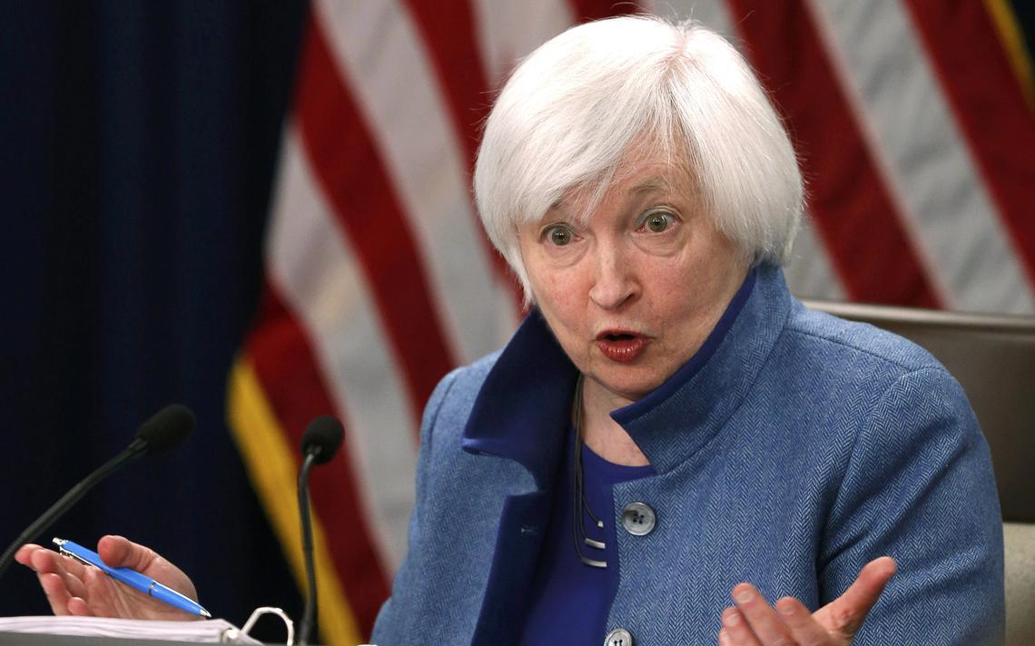 Janet Yellen durante anúncio do aumento dos juros nos Estados Unidos