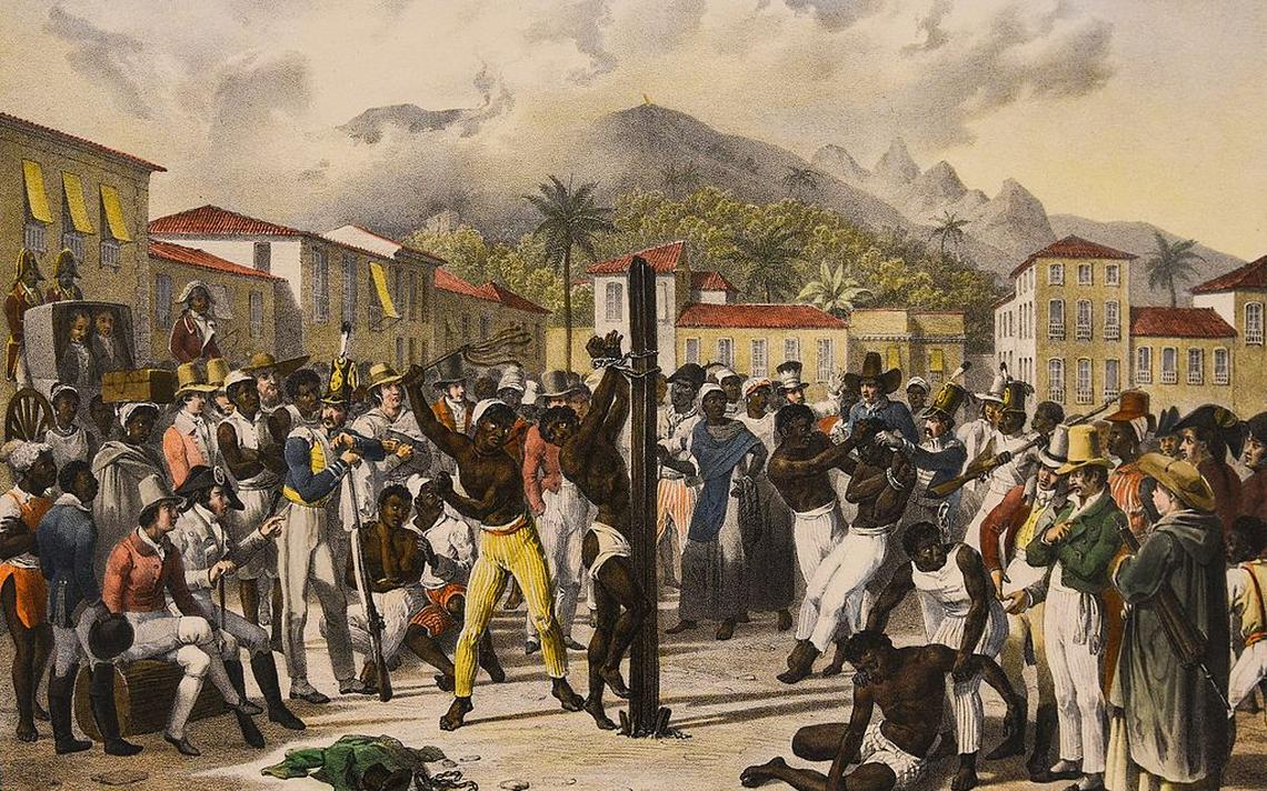 Quadro de Johann Moritz Rugendas mostra escravos sendo punidos no Brasil