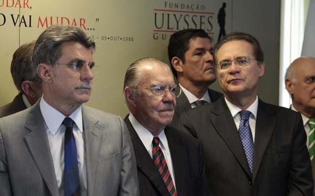 Romero Jucá, José Sarney e Renan Calheiros durante evento do PMDB