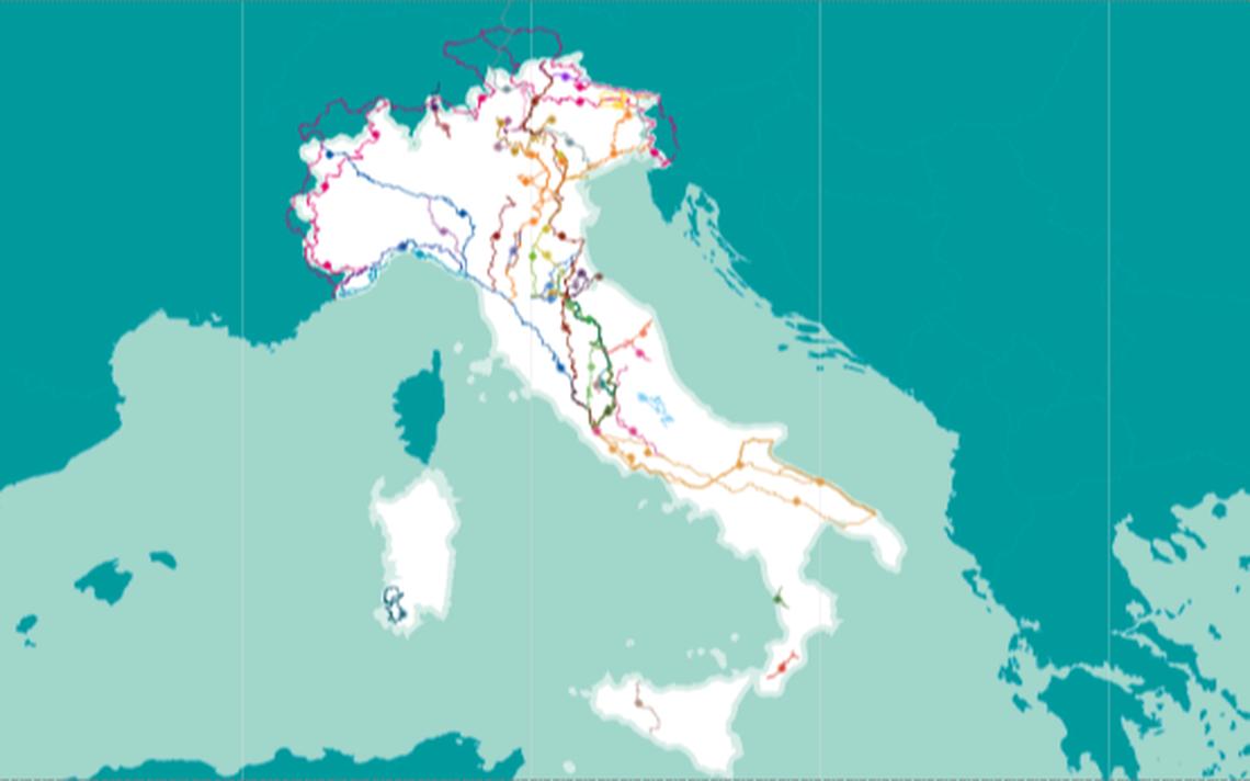 Detalhe do mapa Cammini d'Italia