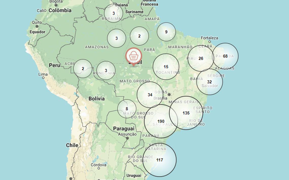 Mapa do Idec com pontos de venda de produtos orgânicos