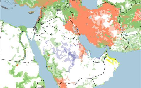 Mapa do Oriente Médio: a presença das vertentes do Islã