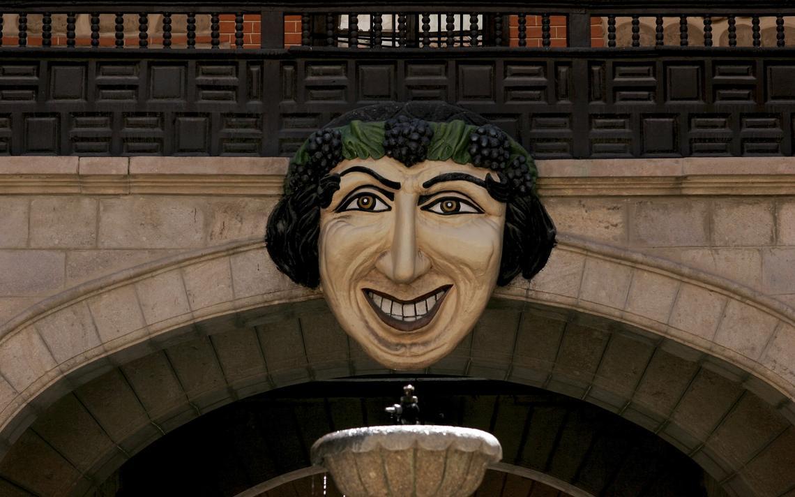 Escultura Mascaron, em frente à Casa de La Moneda de Potosi, na Bolívia