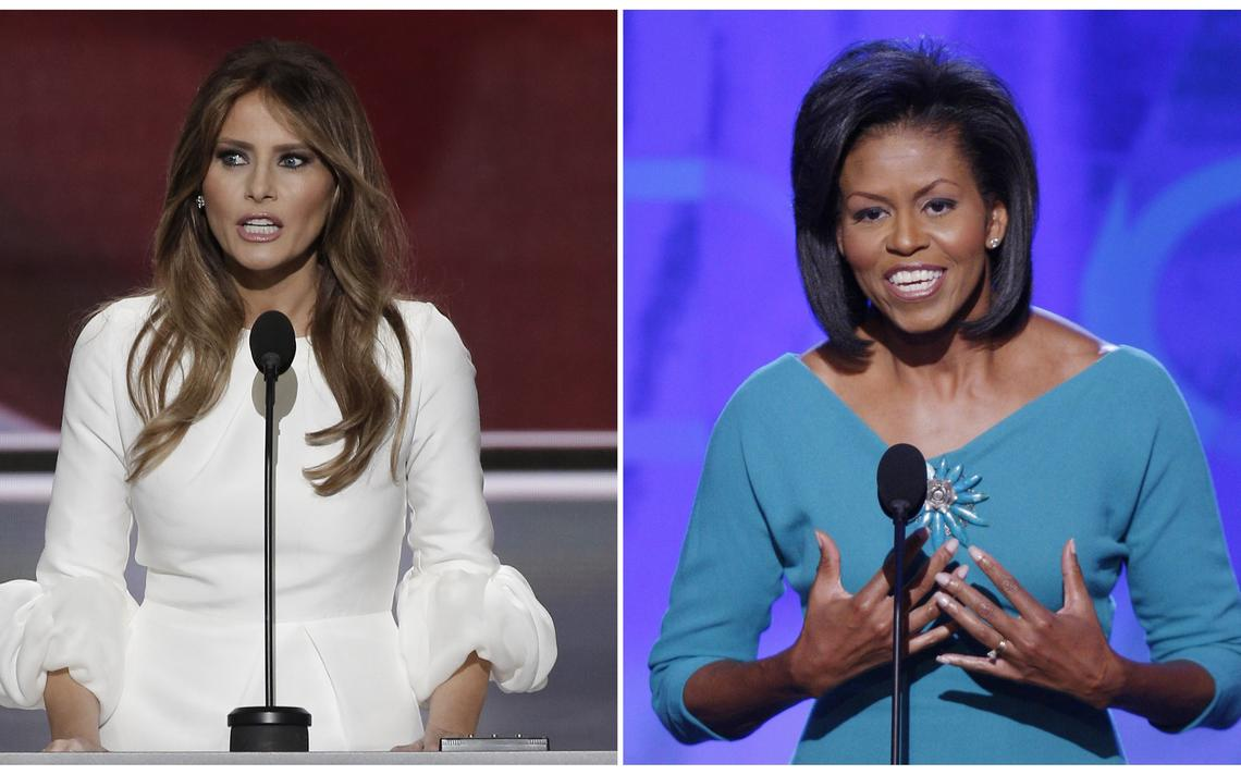 A esposa de Donald Trump, Melania, à esquerda e a primeira-dama americana Michelle Obama