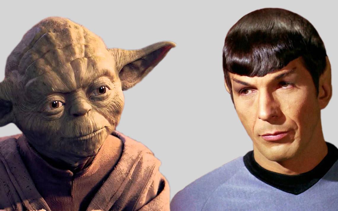 Ícones das sagas: Mestre Yoda (Star Wars) e Spock (Star Trek)