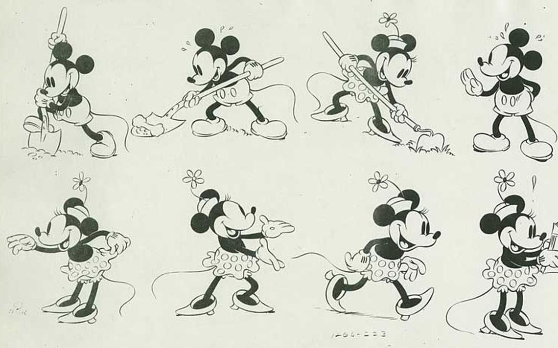 Série de desenhos de Mickey e Minnie usados como referência por animadores da Disney